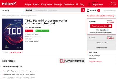 2018-05-28 21_51_35-TDD. Techniki programowania sterowanego testami Książka, kurs - Dariusz Woźniak